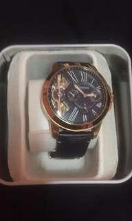 Authentic Fossil leather strap watch