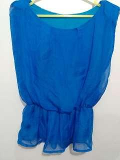 Teal blue chifon top