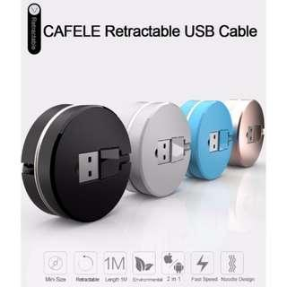 🚚 CAFELE 2 in 1 Stretchable USB Charging Cable 8 Pin Data Transfer for iPhone / Android