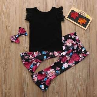 🚚 3pcs Girls Top + Floral Pants + Headband