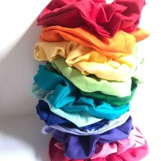 Rainbow handmade cotton scrunchie hair accessory