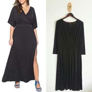Plus Size V Neck Long Dress