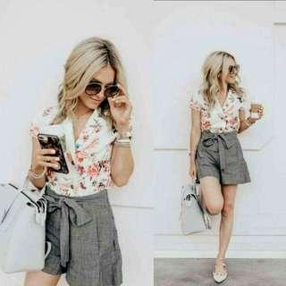 Floral Top CandyShort Terno Thick Cotton