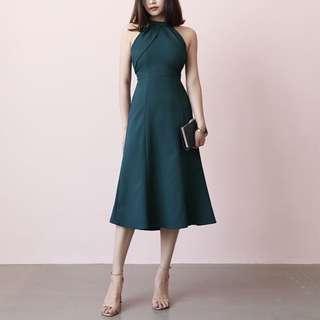 BNIP Halter neck dark green dress