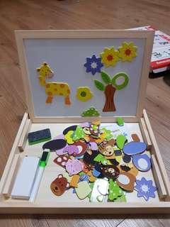 🚚 磁鐵拼貼黑白板益智玩具