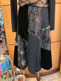 設計師品牌牛仔布料拼接裙