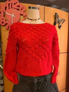 全新紅色針織上衣