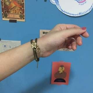 Peace拉鍊設計金色手鍊