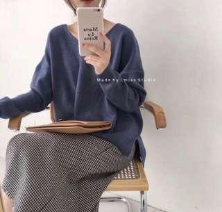 韓式V令寬鬆冷衫