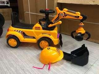 2 in 1 Backhoe Excavator Digger Grabber Construction Vehicle Ride on Car