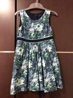 4t Pre-loved blue floral sleeveless dress with lining