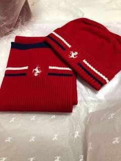 Ferrari junior scarf and hat set