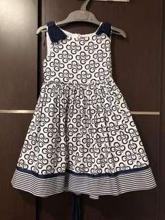3t Pre-loved blue and white girls dress
