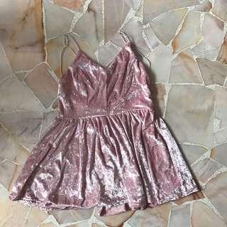 🚚 Pink Velvet Cross Back Dress