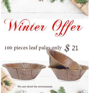 🚚 Leaf palas || 100 pcs || 11cm || Natural product || Environment friendly || One time use || Party plates || New design