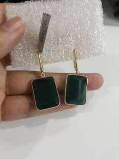 Green onyx emerald earing