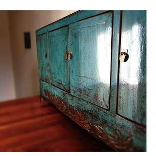 Antique Lacquered Green Cabinet
