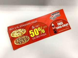 Canadian Pizza 50% Off Voucher (Third Piece)