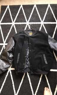 Leather and wool jacket large
