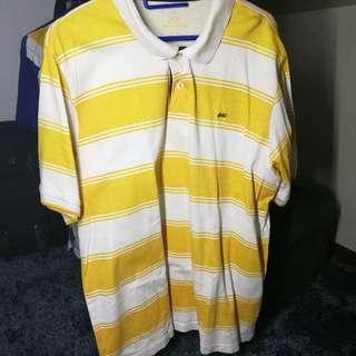 * Yellow and white stripped polo shirt