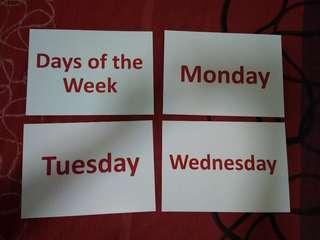 Days of the week flashcards - Glenn Doman and Shichida