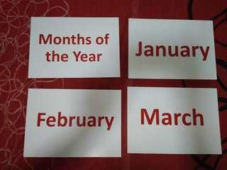 Months of the year flashcards - Glenn Doman and Shichida