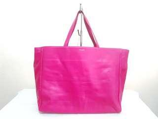 AUTHENTIC SAINT LAURENT REVERSIBLE FUCHSIA SUEDE AND LEATHER HORIZONTAL TOTE