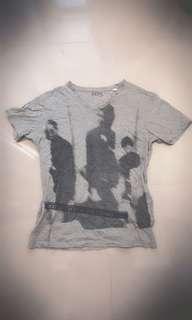🚚 正品Diesel 灰色V領人物渲染短T恤