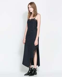 Zara Boutique checked navy blue green and black lace trim maxi slit dress 吊帶格仔藍綠色長裙