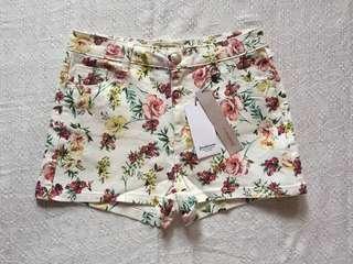 Stradivarius Floral Denim Shorts