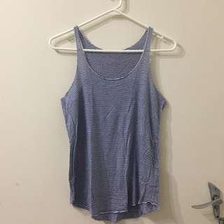Zara Blue and White Striped Singlet