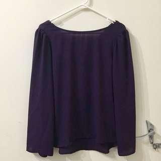Purple Bell Sleeve Cross Back Blouse