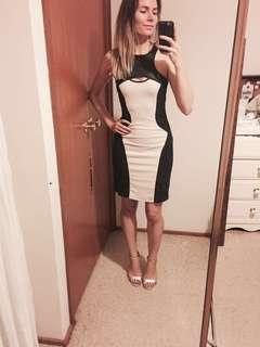 Body con dress beige and black