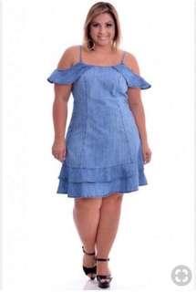 Plus Size Offshoulder Denim Dress