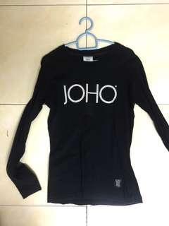 JOHO Long Sleeve Black Top