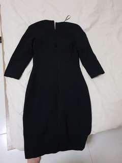 Thick winter black dress from Mango with belt low v back.