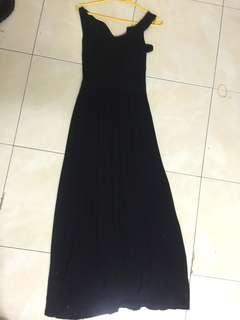 Black Long Back Ribbon Sleeveless Dress
