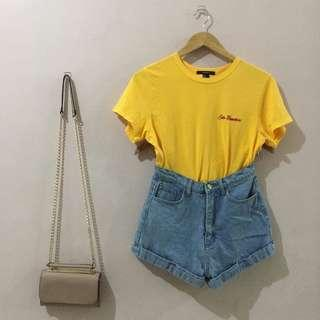 Forever 21 Embroidered Mustard Top