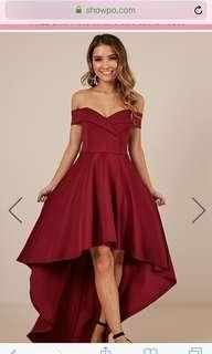 SHOWPO | Minute to Midnight Hi-Low Dress in Wine | Size 6 | WORN ONCE ONLY