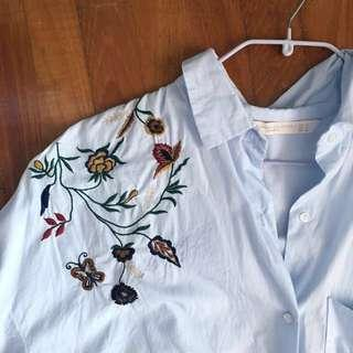 Zara floral embroidered shirt blue xs