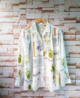 NETT NO NEGO shirt kemeja vintage thrift floral white yellow orange pattern retro long sleeve unik