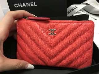 🧡WOW🧡19C Chanel Mini O Case Chevron Caviar Coral Shw #27