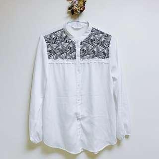 🚚 正韓 白色設計襯衫