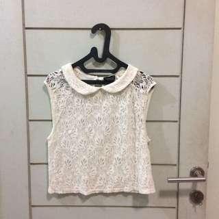 Topshop Lace Blouse Collar Crop