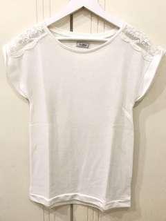 Pull & Bear White Long T-Shirts