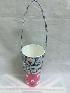 🚚 手作-防水愛心貓環保提袋 杯套 飲料提袋 好收納/可插吸管