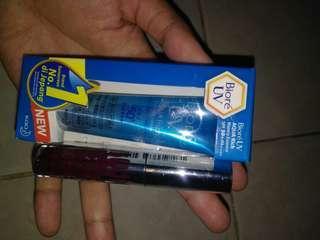paket 7, biore sunscreen 15gr + lipcream kylie, take all 60k nett(baru)