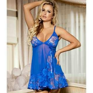 CELLY Floral Soft Lace Apron Chemise With Thong (CSOH R80158)