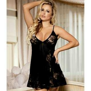 CELLY Floral Soft Lace Apron Chemise With Thong (CSOH R80158-2)
