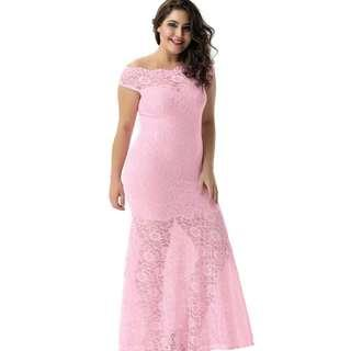 CELLY Plus Size Pink Lace Elegant Party Gown (CSOH V1073-3P)